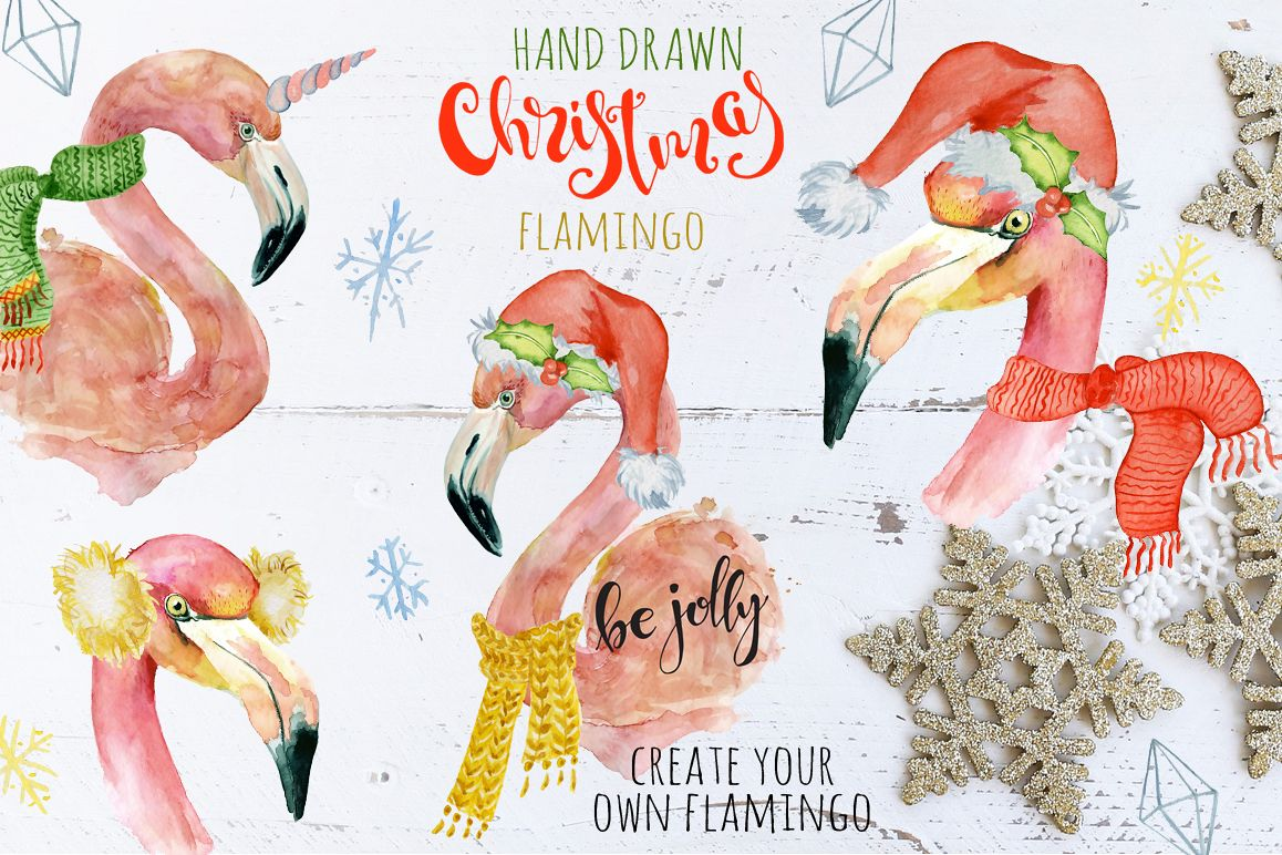 Christmas pink flamingo watercolor creator example image 1