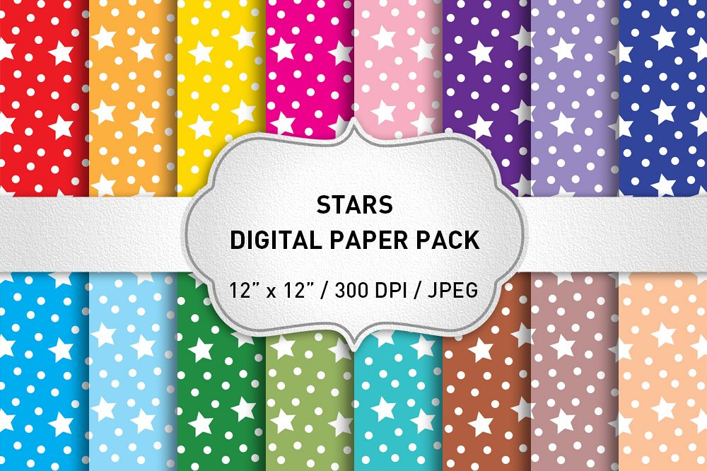 Stars Digital Paper, Stars Background, Christmas Digital Paper, Scrapbooking, Printable, Digital Paper Pack example image 1