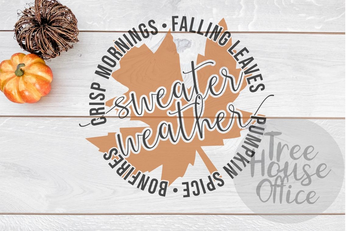 Sweater Weather Fall Leaves Autumn Leaf Pumpkin SVG PNG JPEG example image 1
