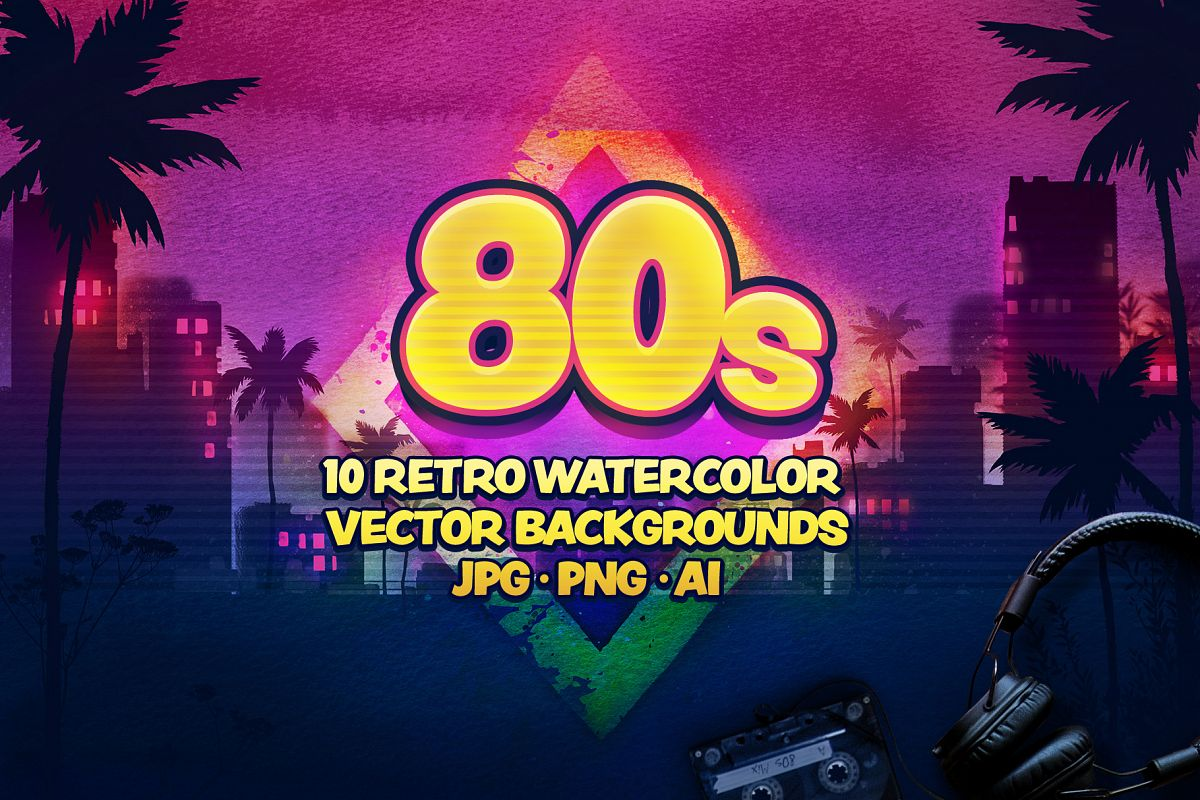 80s Retro Watercolor backgrounds. example image 1