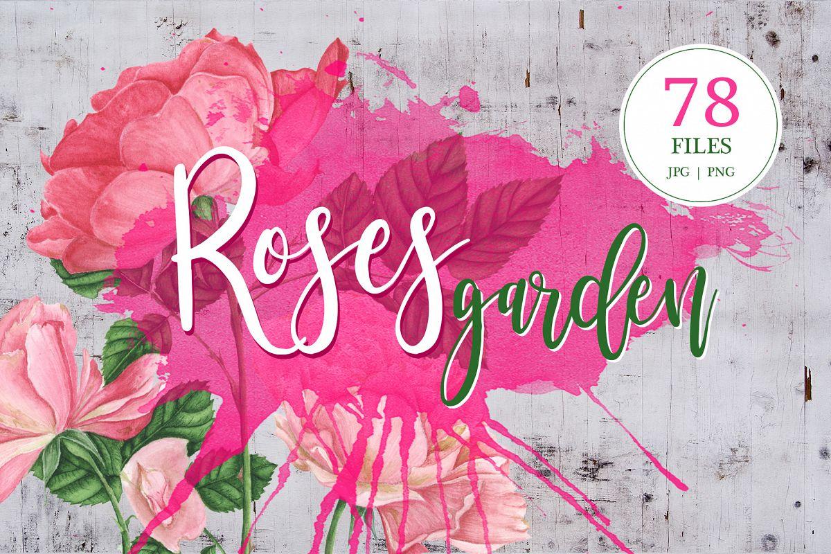 Roses garden watercolor set example image 1
