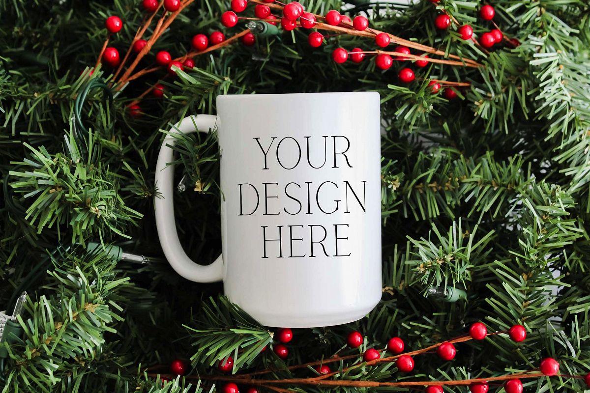 15 oz Pine Christmas Mug Mockup example image 1