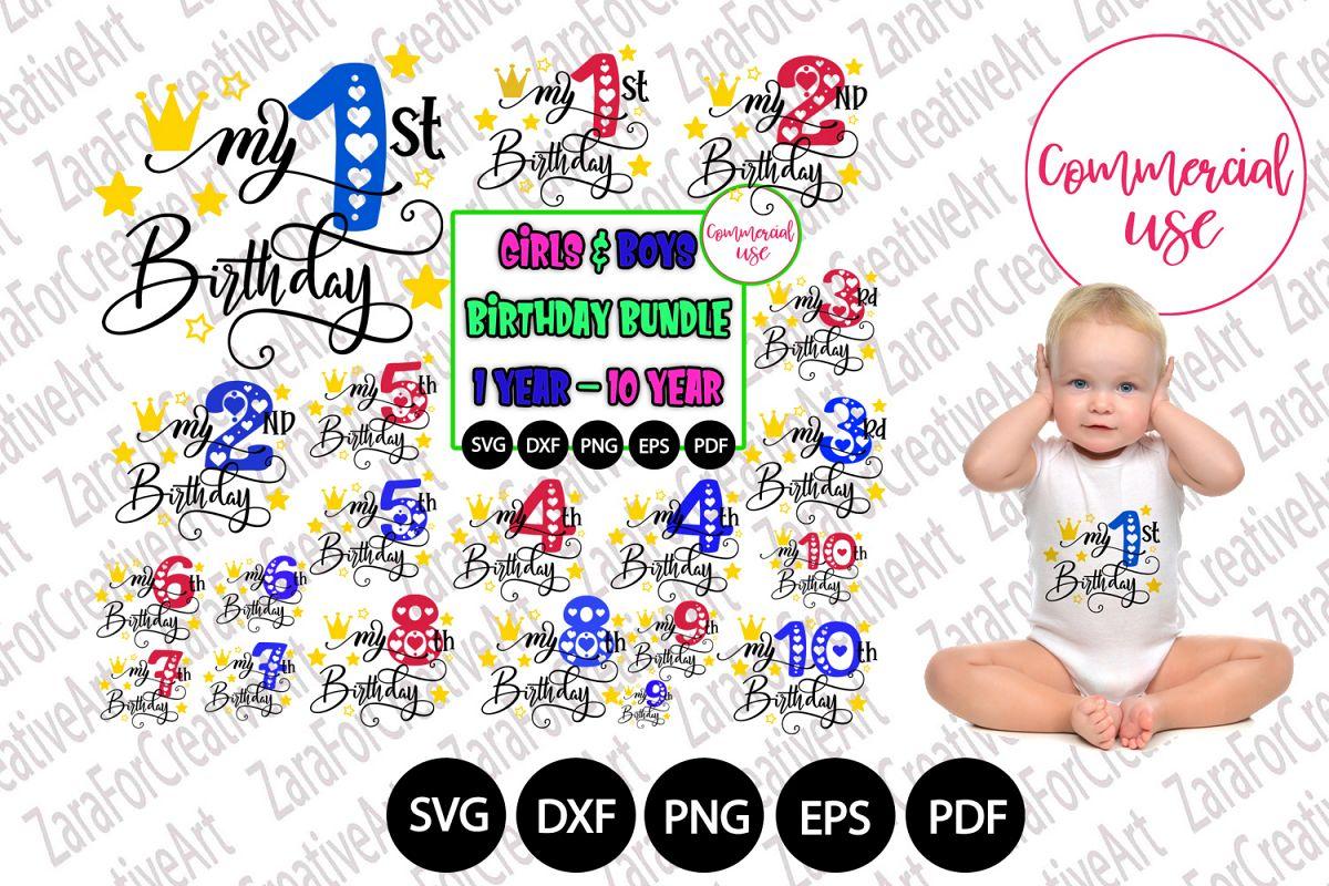 my birthday svg bundle, birthday girl bundle birthday boy , example image 1