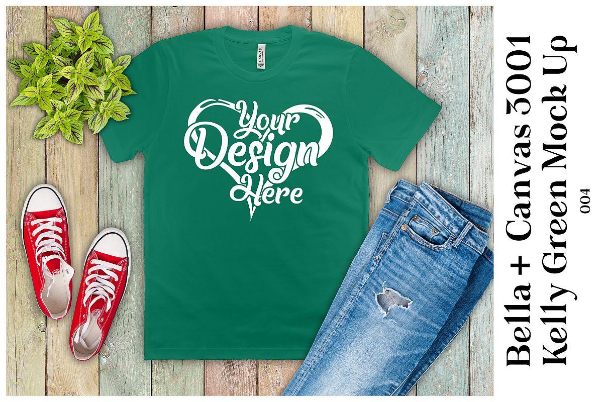 Mens T-Shirt Mockup Kelly Green Bella Canvas 3001 Mock up example image 1