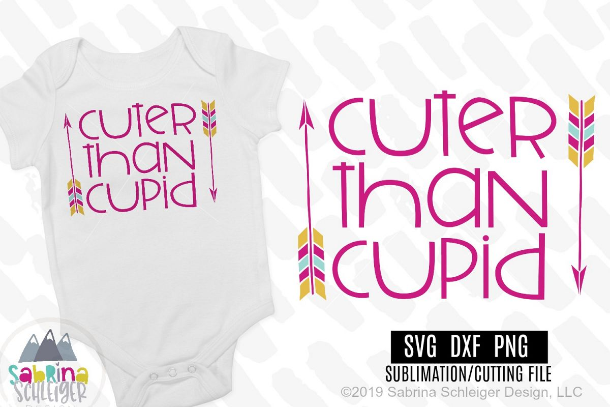 Cuter Than Cupid- Kids Valentine SVG Cutting File example image 1