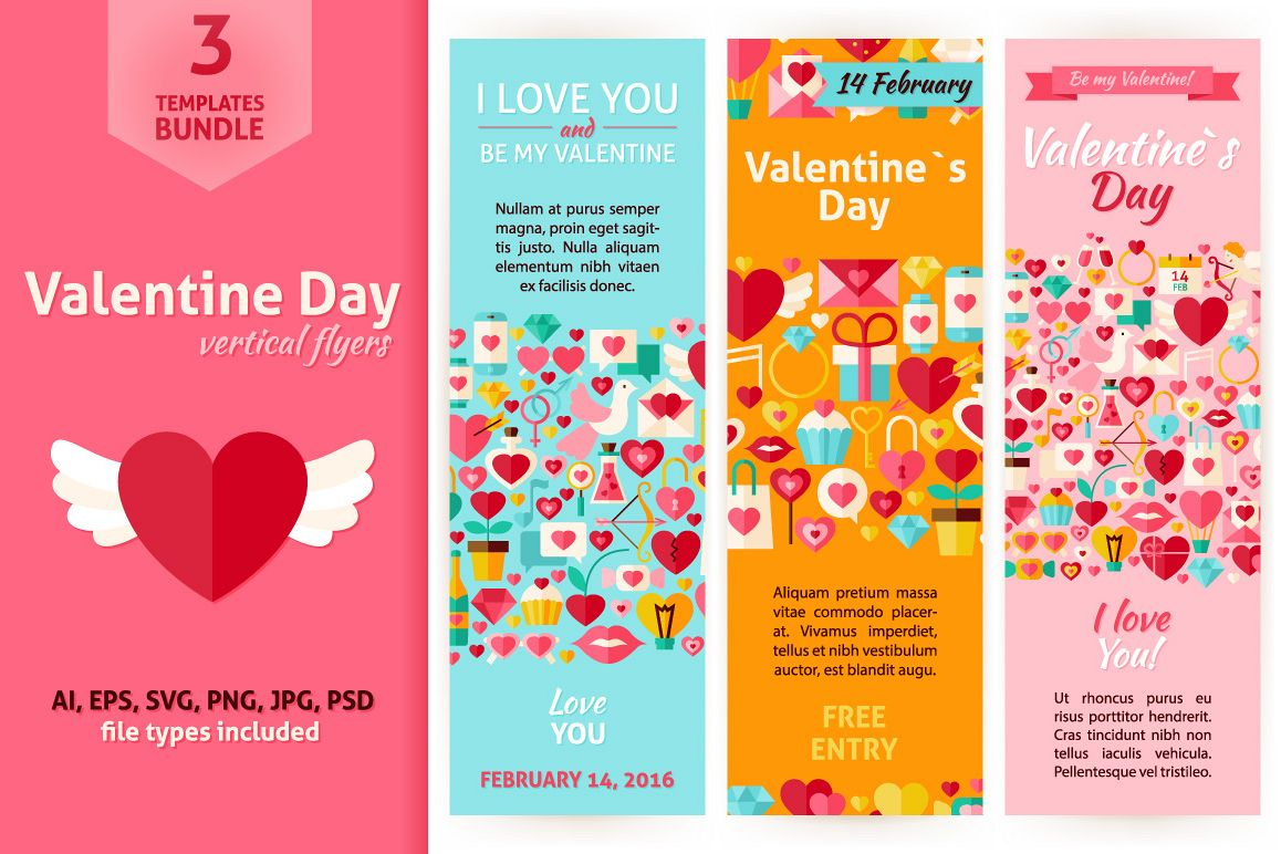Valentine Day Vertical Invitations example image 1