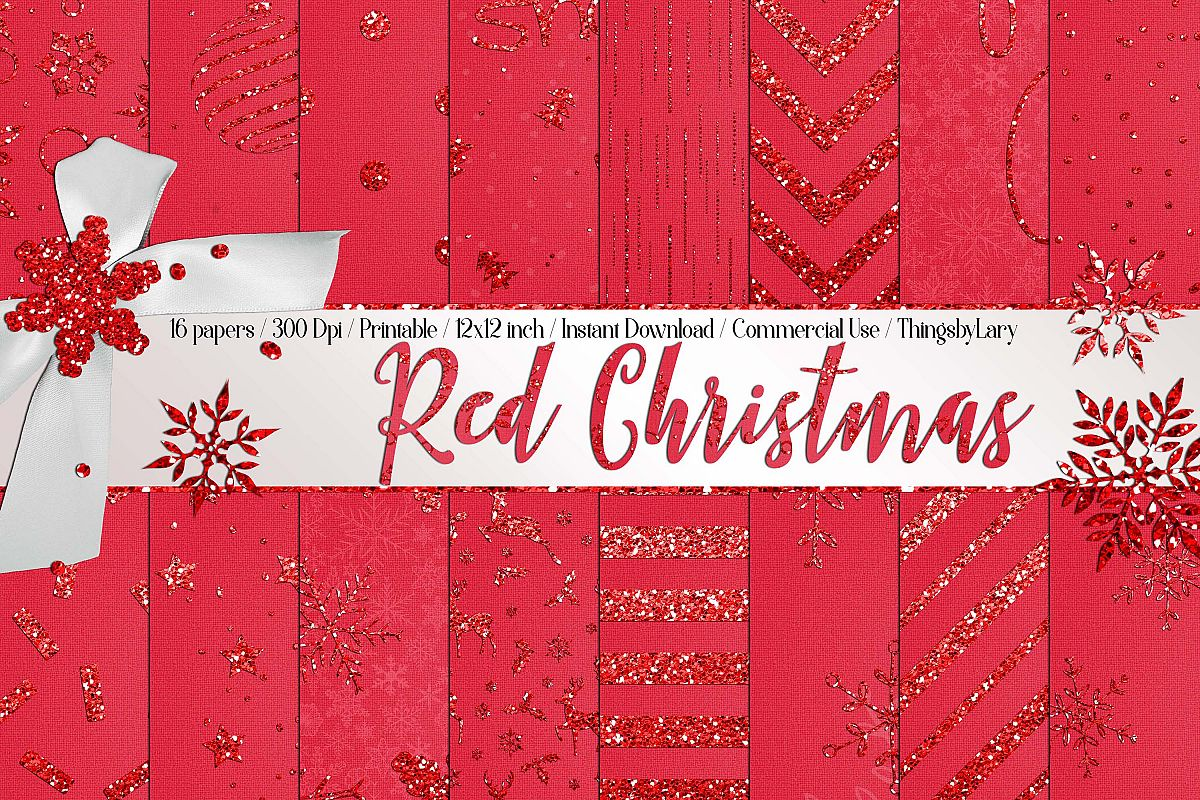 16 Red Glitter Christmas Printable Digital Papers 12 x 12 in example image 1