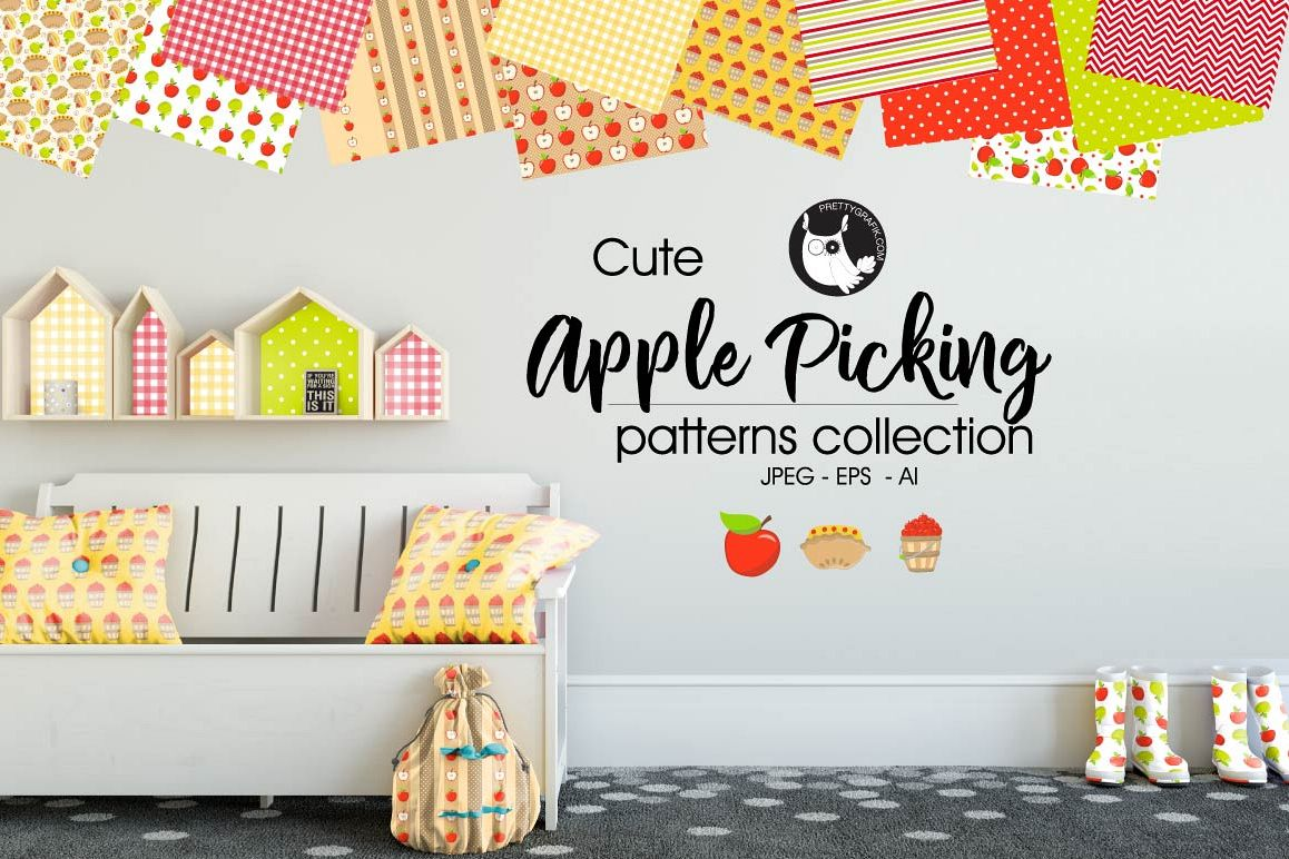 APPLE PICKING, digital papers example image 1