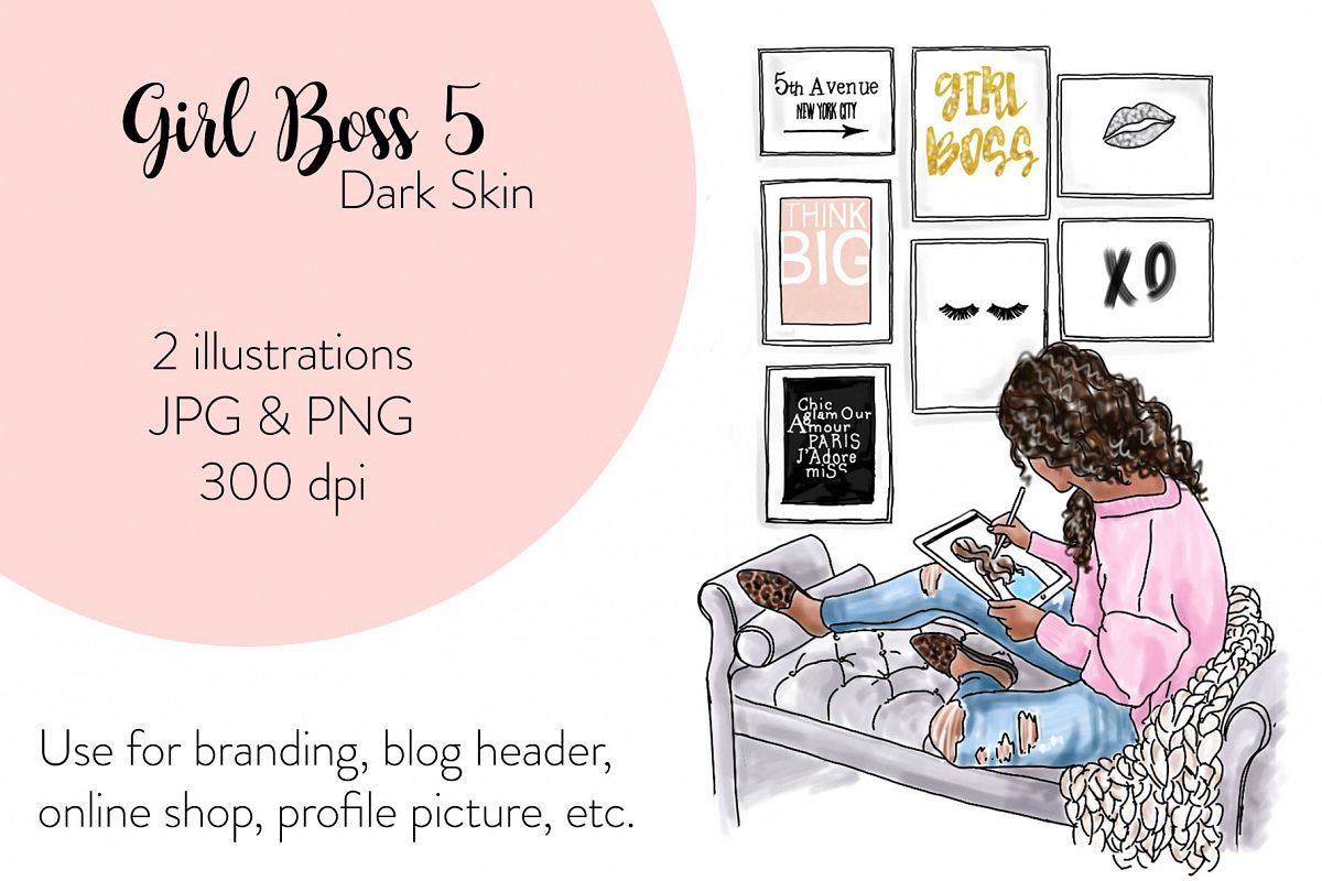 Fashion illustration - Girl Boss 5 - Dark Skin example image 1
