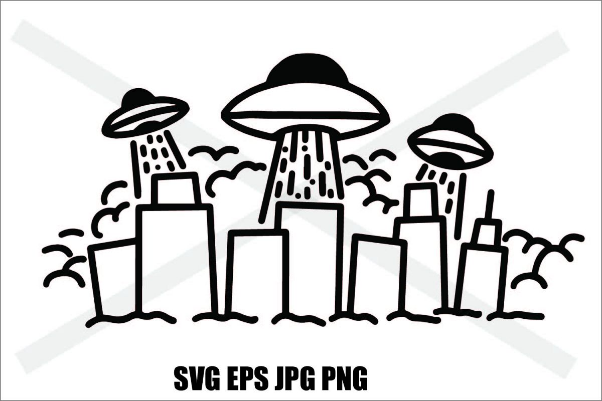 UFO Invasion - SVG EPS JPG PNG example image 1