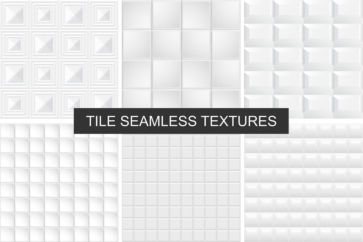 White and gray tile textures set example image 1