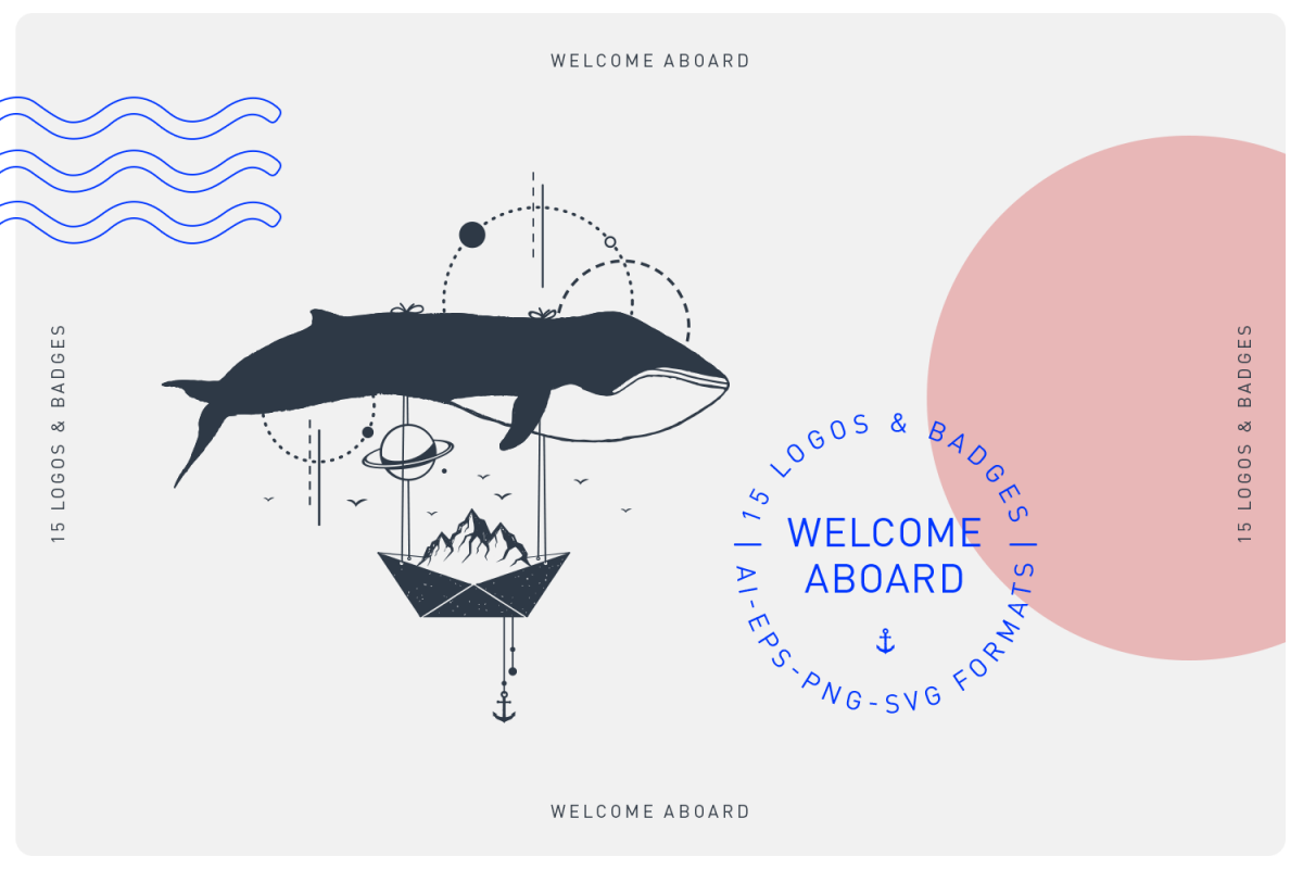 Welcome Aboard. 15 Logos & Badges in AI, EPS, PNG and SVG example image 1