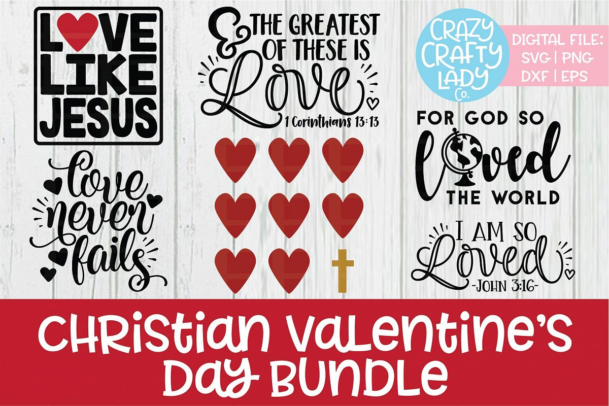 Christian Valentine's Day SVG DXF EPS PNG Cut File Bundle example image 1