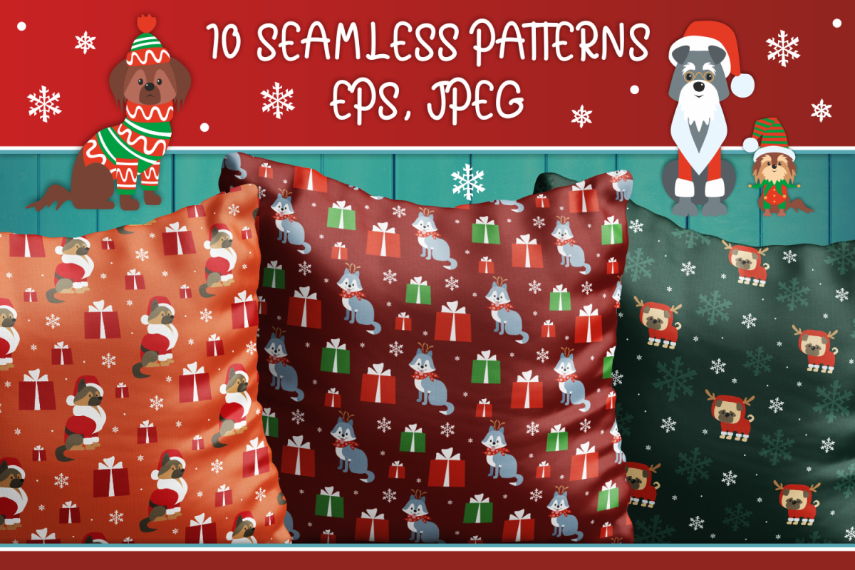 Woof. Christmas seamless patterns with cute doggies example image 1