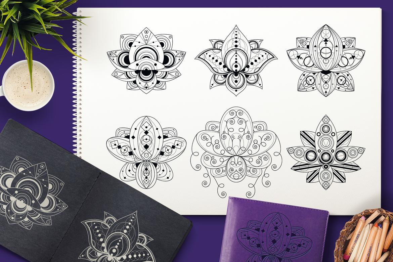 Geometric Lotuses Set example image 1