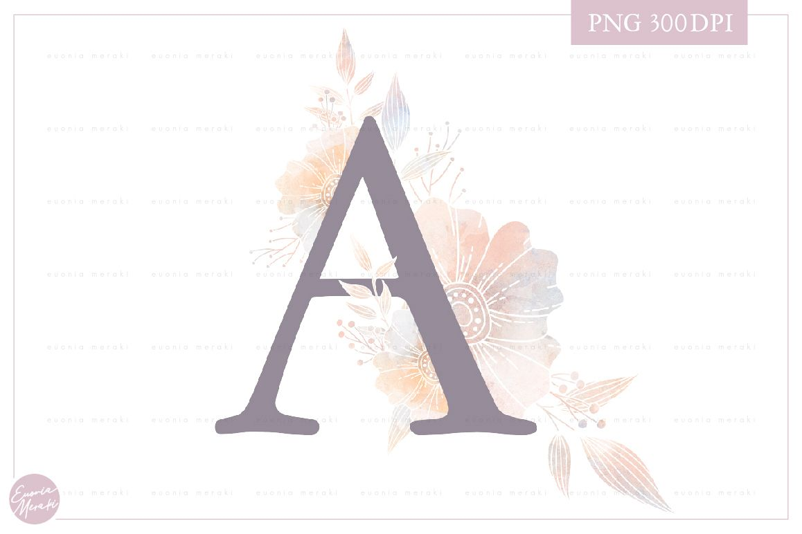 MONOGRAM Letter A Dusty Floral Monogram - Flower alphabet example image 1