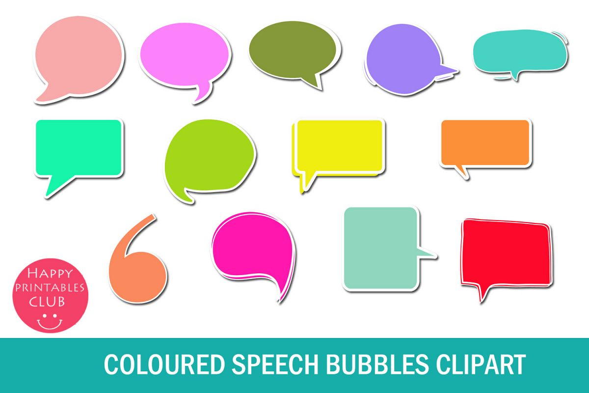 graphic relating to Printable Speech Bubbles identified as Coloured Speech Bubbles Clipart