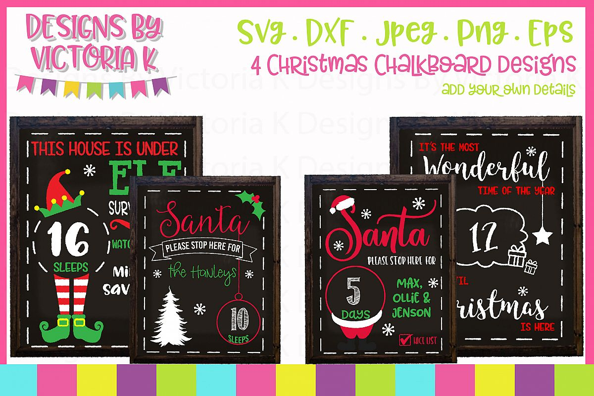 4 Christmas Countdown Chalkboard Designs, SVG, DXF, PNG example image 1