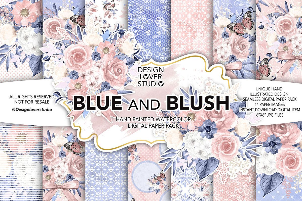 Watercolor BLUE and BLUSH digital paper pack example image 1