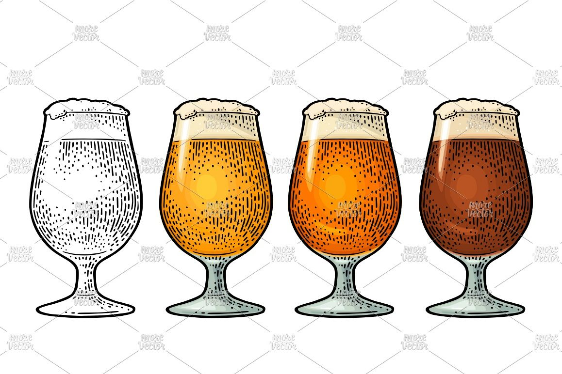 Glass different types beer lager ale stout  Color engraving