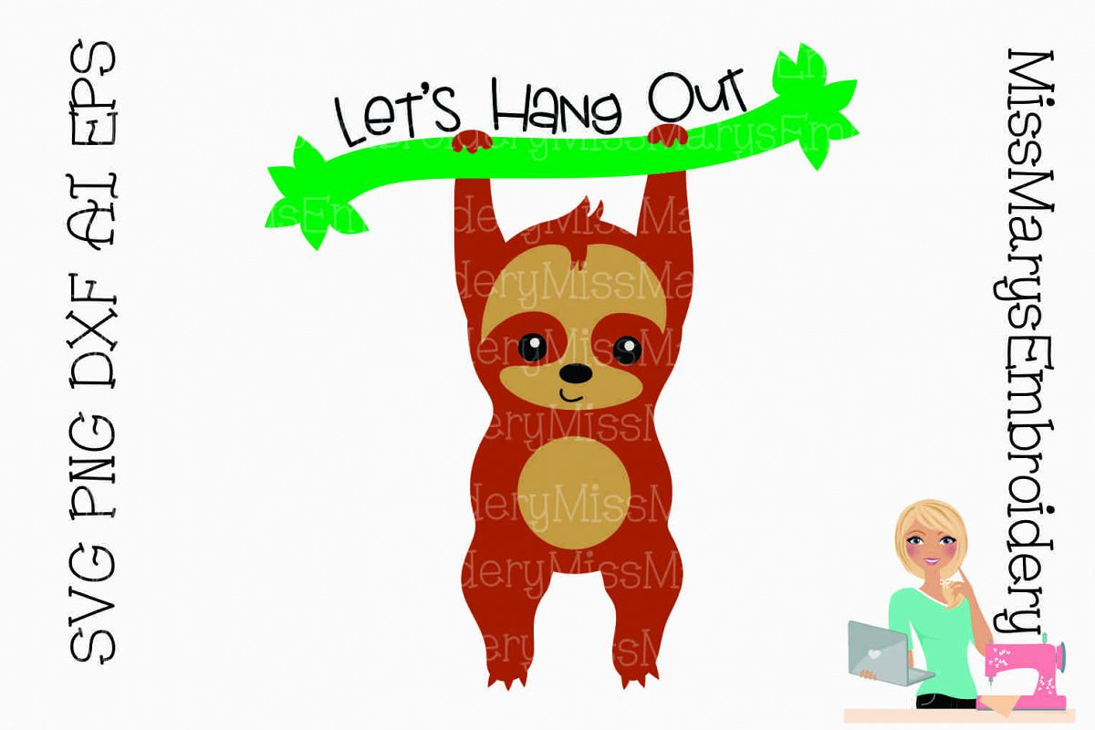 Let's Hang Out Sloth SVG Cutting File PNG DXF AI EPS example image 1
