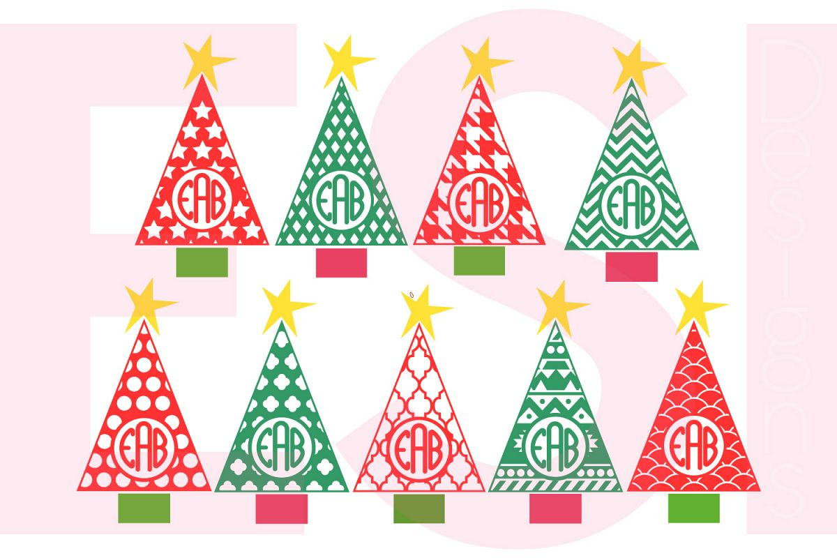 patterned christmas tree monogram designs set example image 1 - Christmas Tree Designs