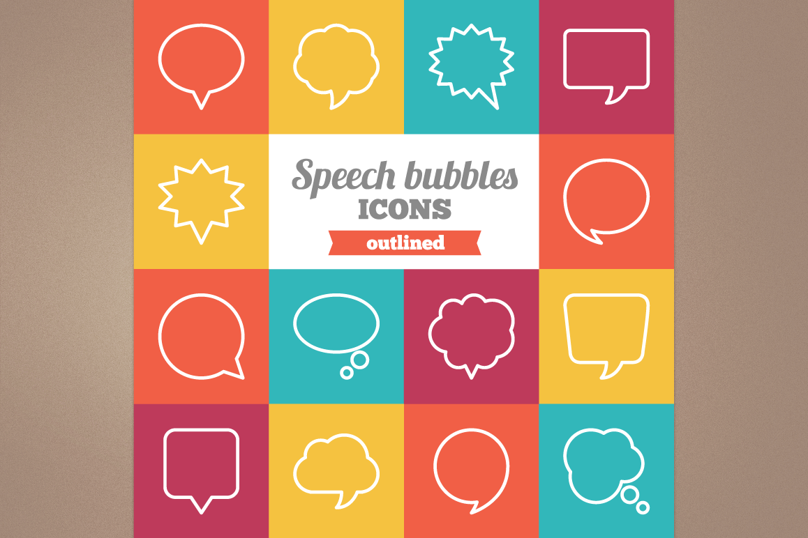 Outlined Speech Bubbles Icons example image 1