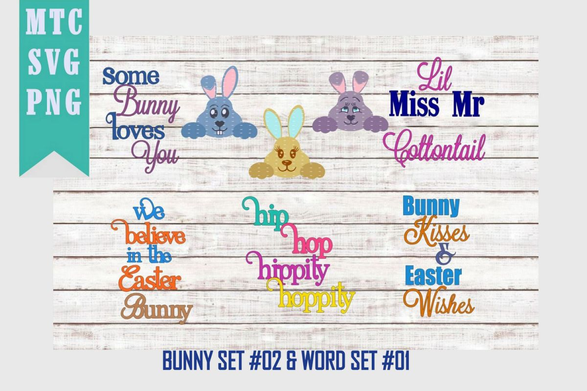 Peeping Easter Bunny Set #2 with Sayings Set #1 SVG Cut File example image 1