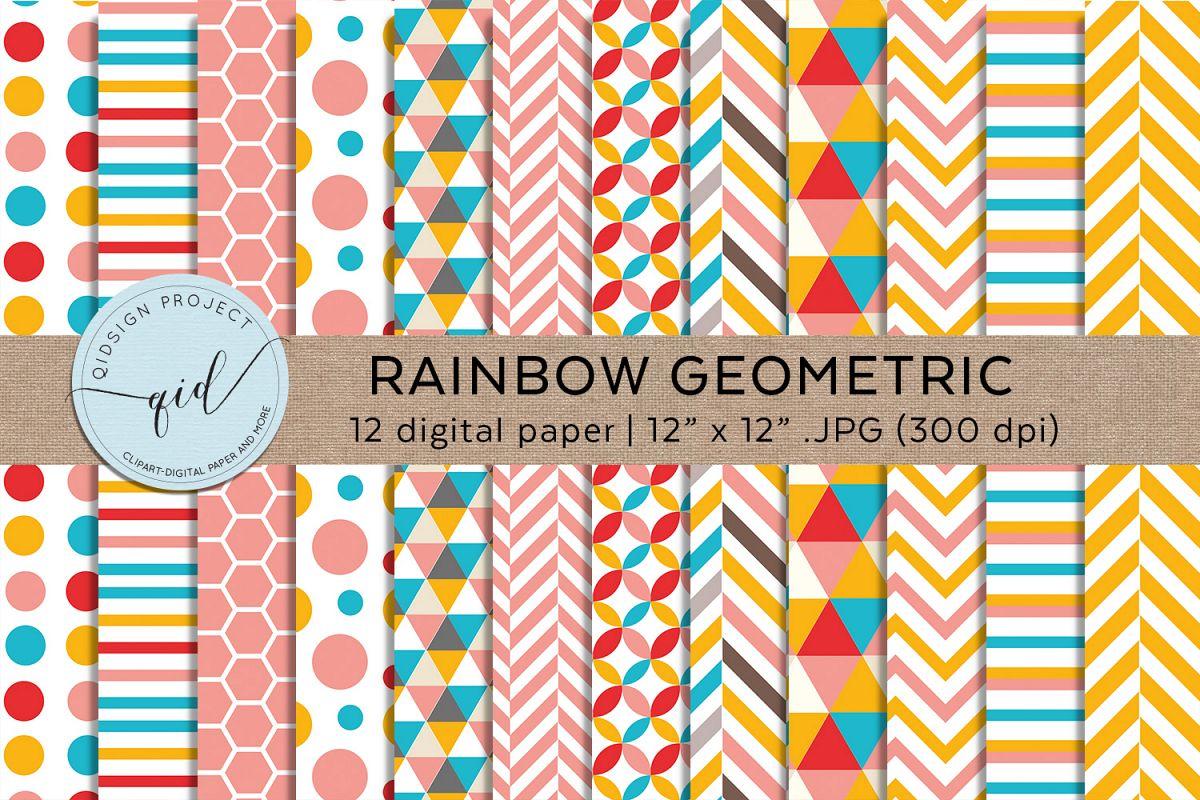 Rainbow Geometric Digital Paper Pattern example image 1