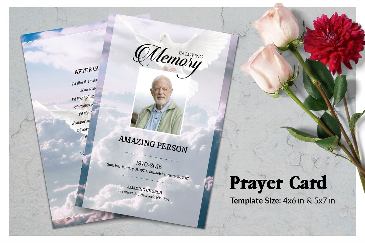 Dove and Sky Funeral Prayer Card Template example image 1