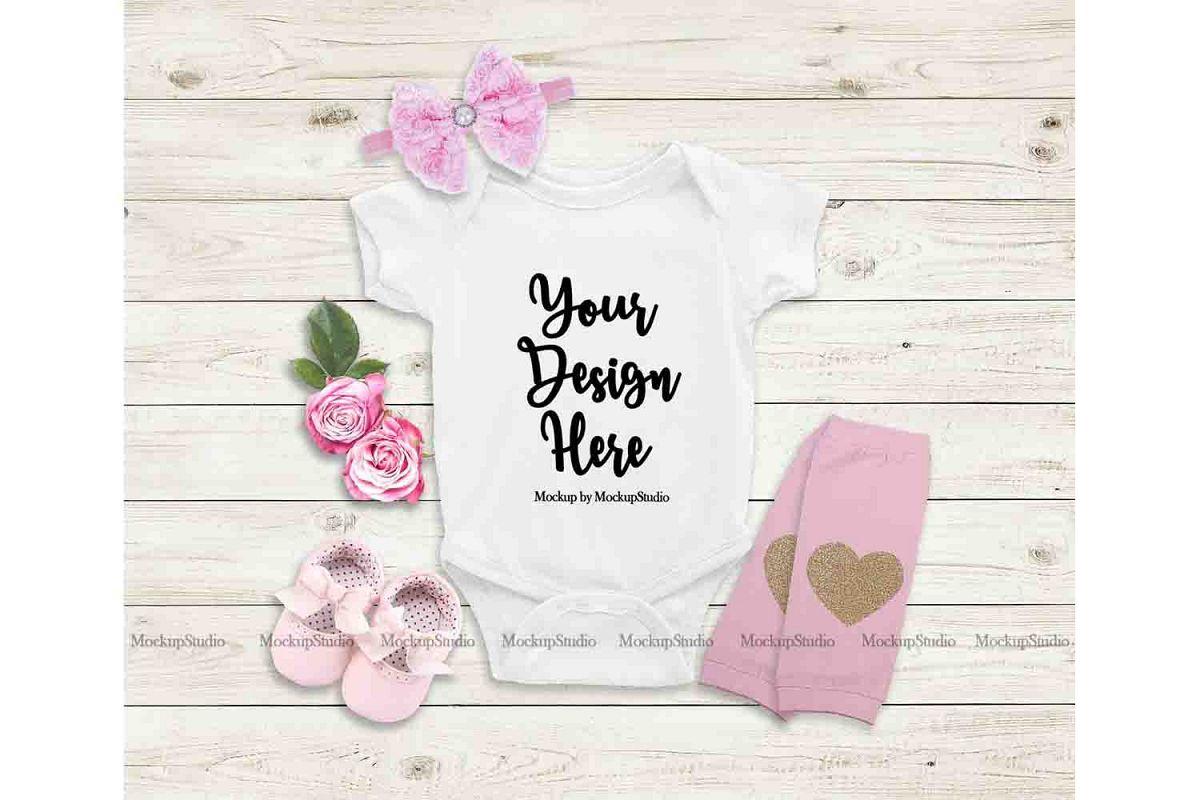 Baby Girl White Bodysuit Mockup, Newborn Onepiece Mock Up example image 1