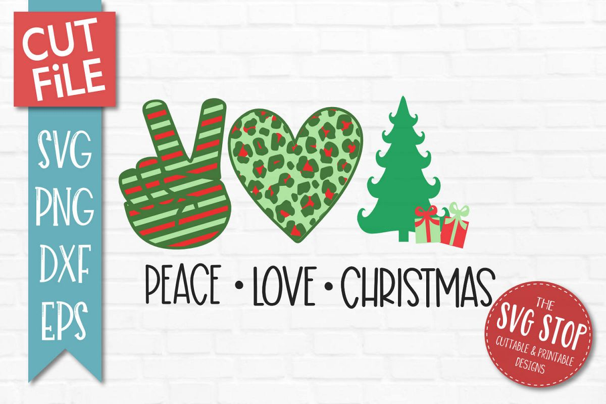 Peace Love Christmas SVG, PNG, DXF, EPS example image 1