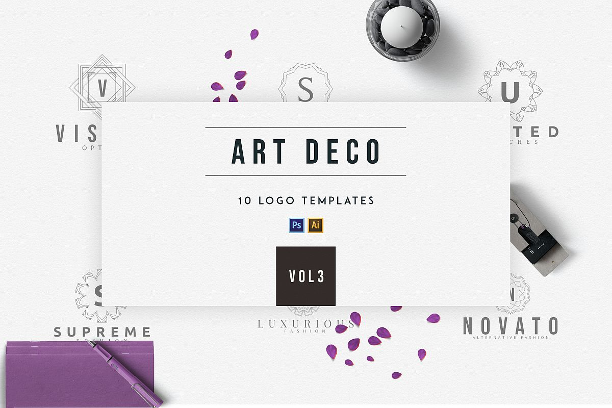 art deco logo templates vol 3