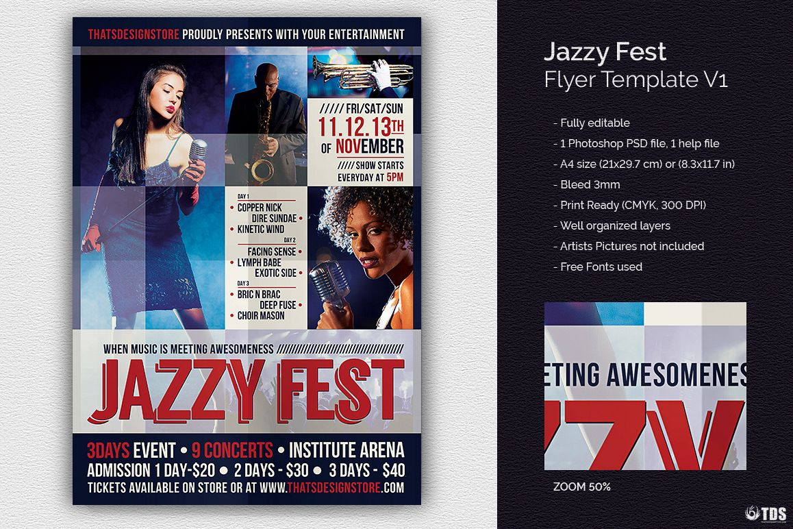 Jazzy Fest Flyer Template V1 example image 1