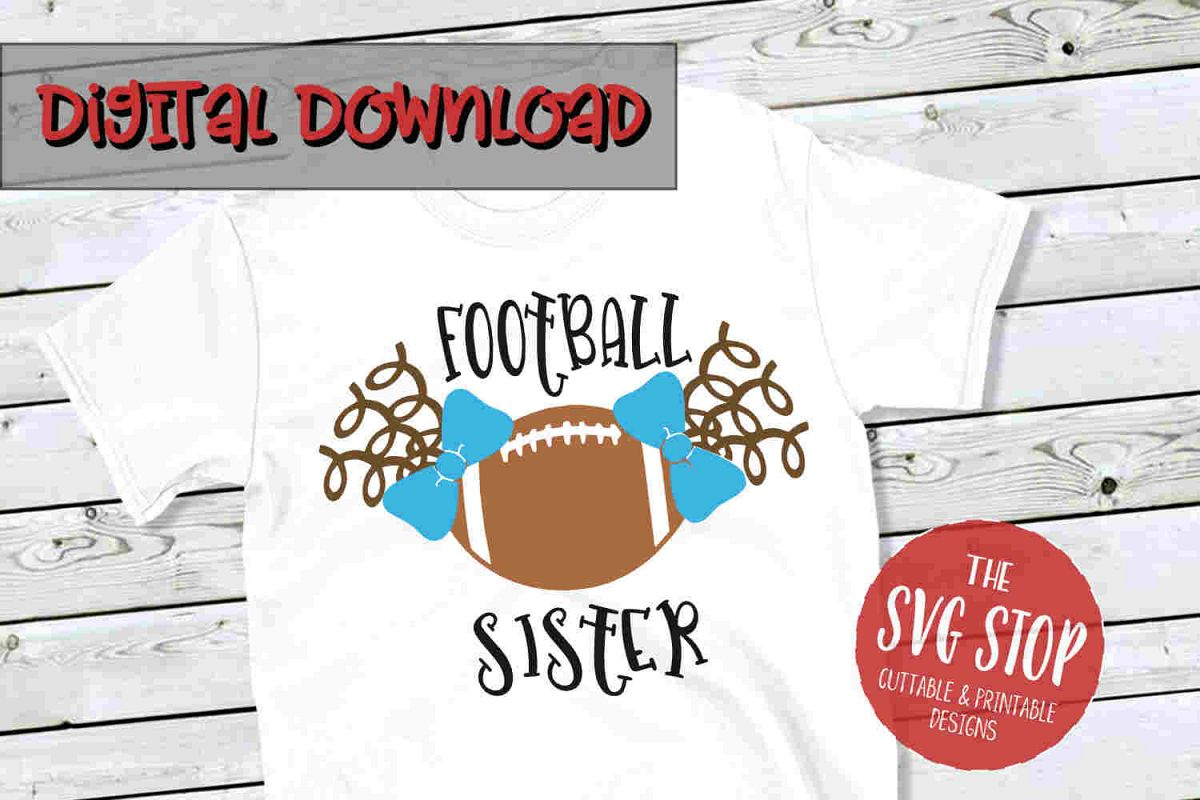 Pigtail Football Sister -SVG, PNG, DXF example image 1