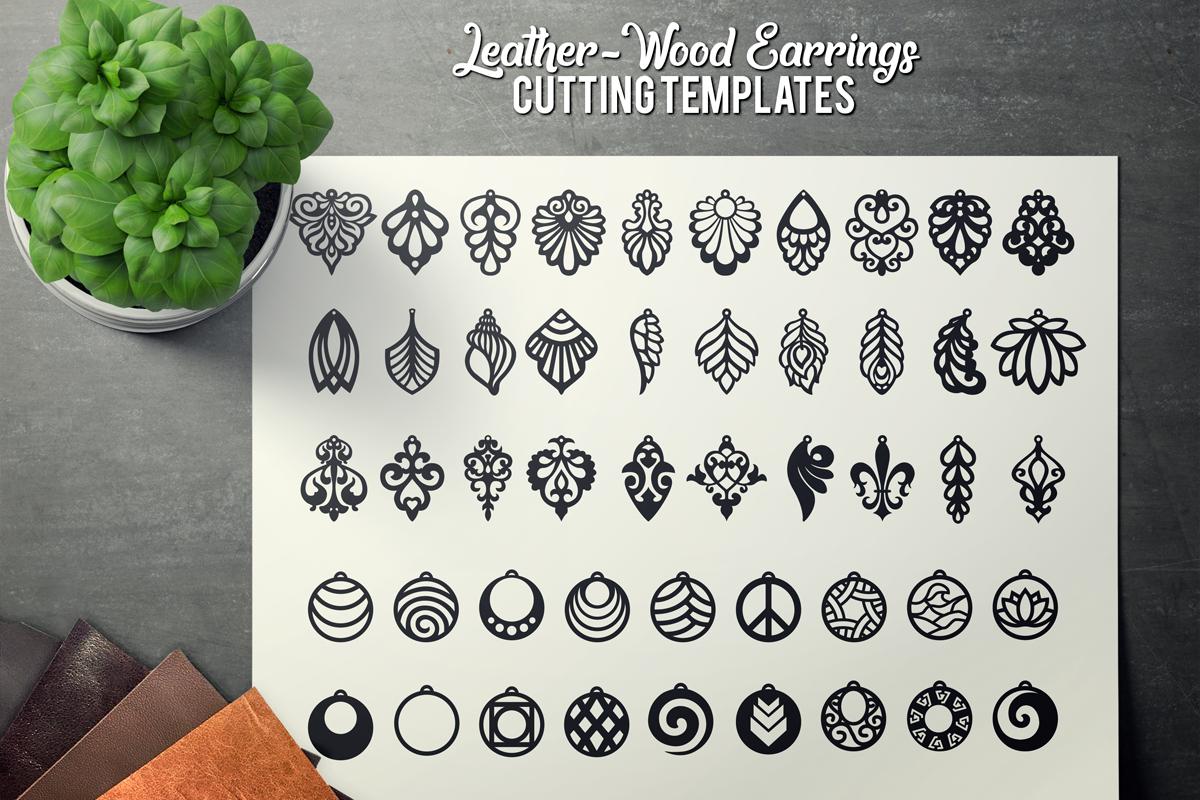 Wood Earrings SVG - Leather Earrings SVG - Earrings Bundle example image 1
