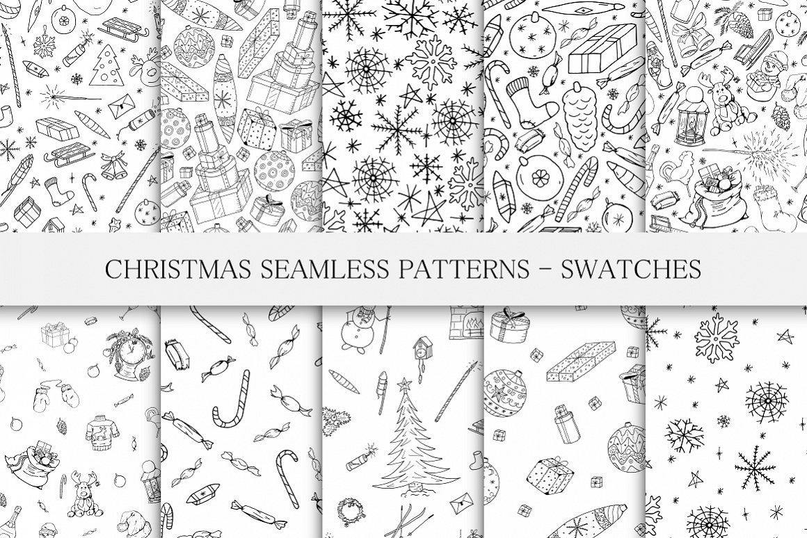 Christmas seamless patterns. example image 1