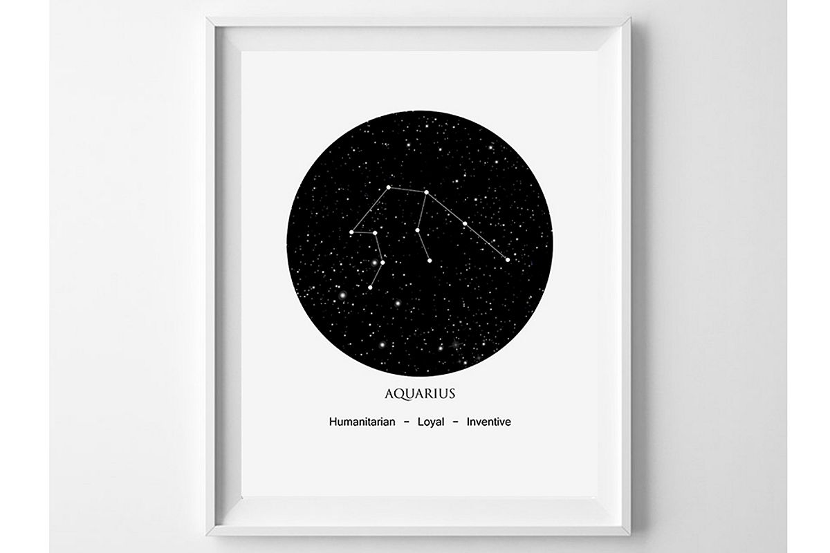 Aquarius Printable, Zodiac Aquarius, Star Sign Print example image 1