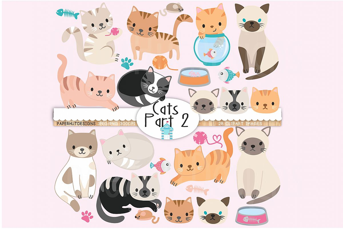 Cute Cats Clipart Part 2 example image 1