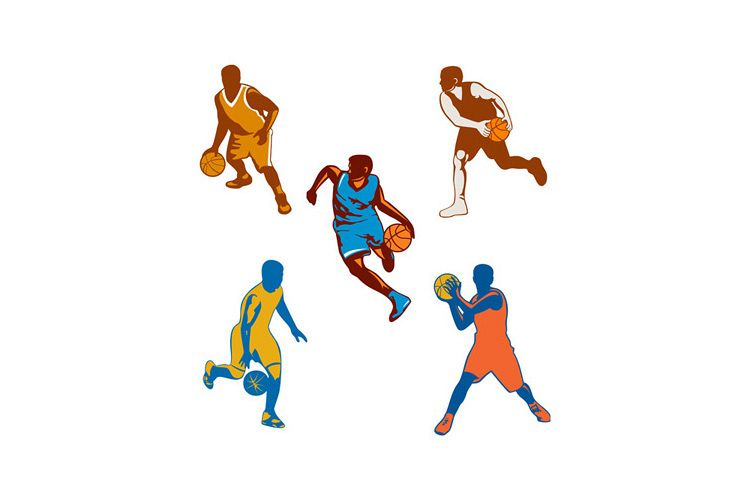 Basketball Player Dribbling Ball Collection example image 1