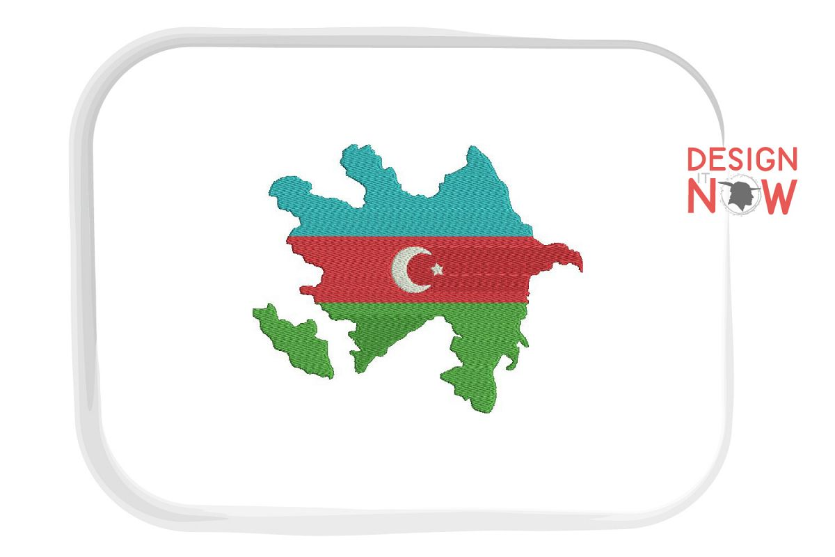 Map Of Azerbaijan Embroidery Design, Map Embroidery example image 1