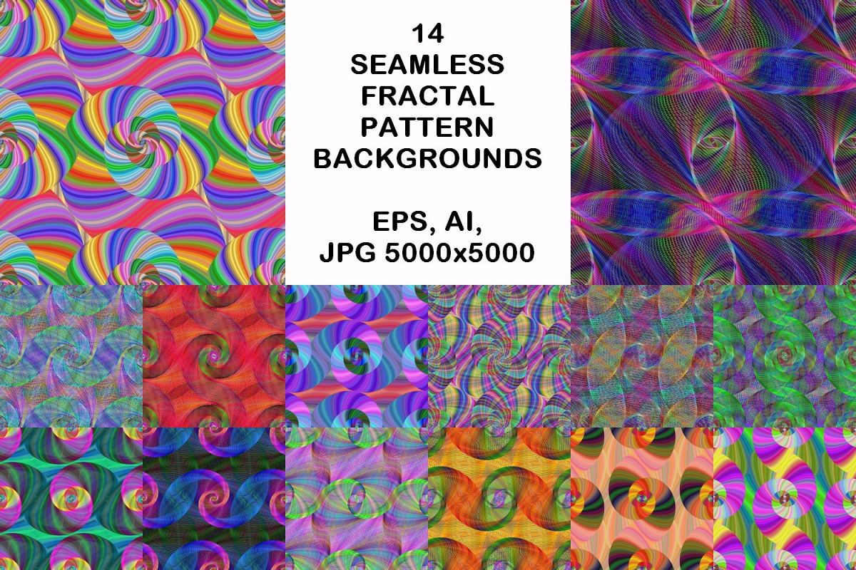 14 seamless fractal spiral pattern backgrounds (AI, EPS, JPG 5000x5000) example image 1