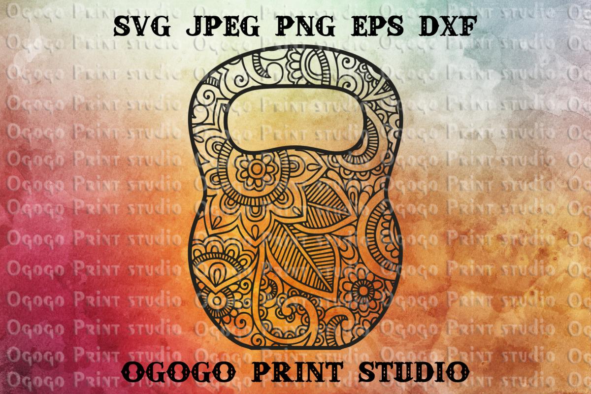 Kettlebell SVG, Mandala svg, Zentangle SVG, Crossfit svg example image 1