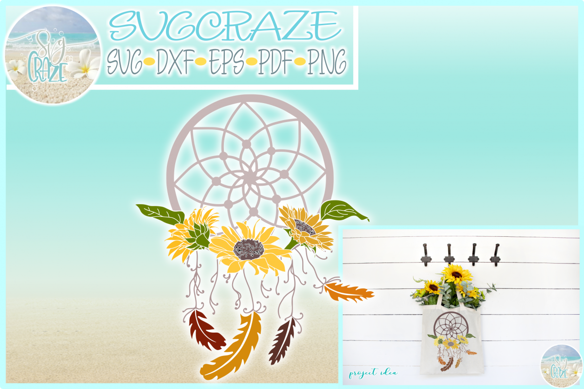 Dreamcatcher with Sunflowers Feathers Beads SVG Dxf Eps Png