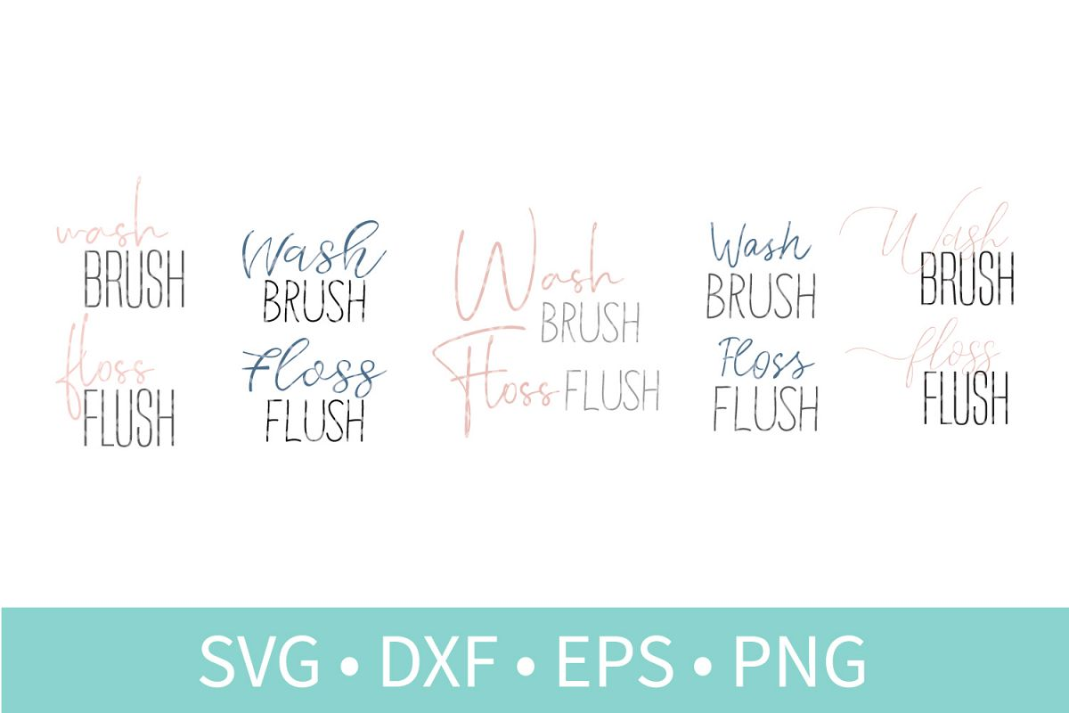 Wash Brush Floss Flush SVG DXF EPS PNG Clipart Cut File example image 1