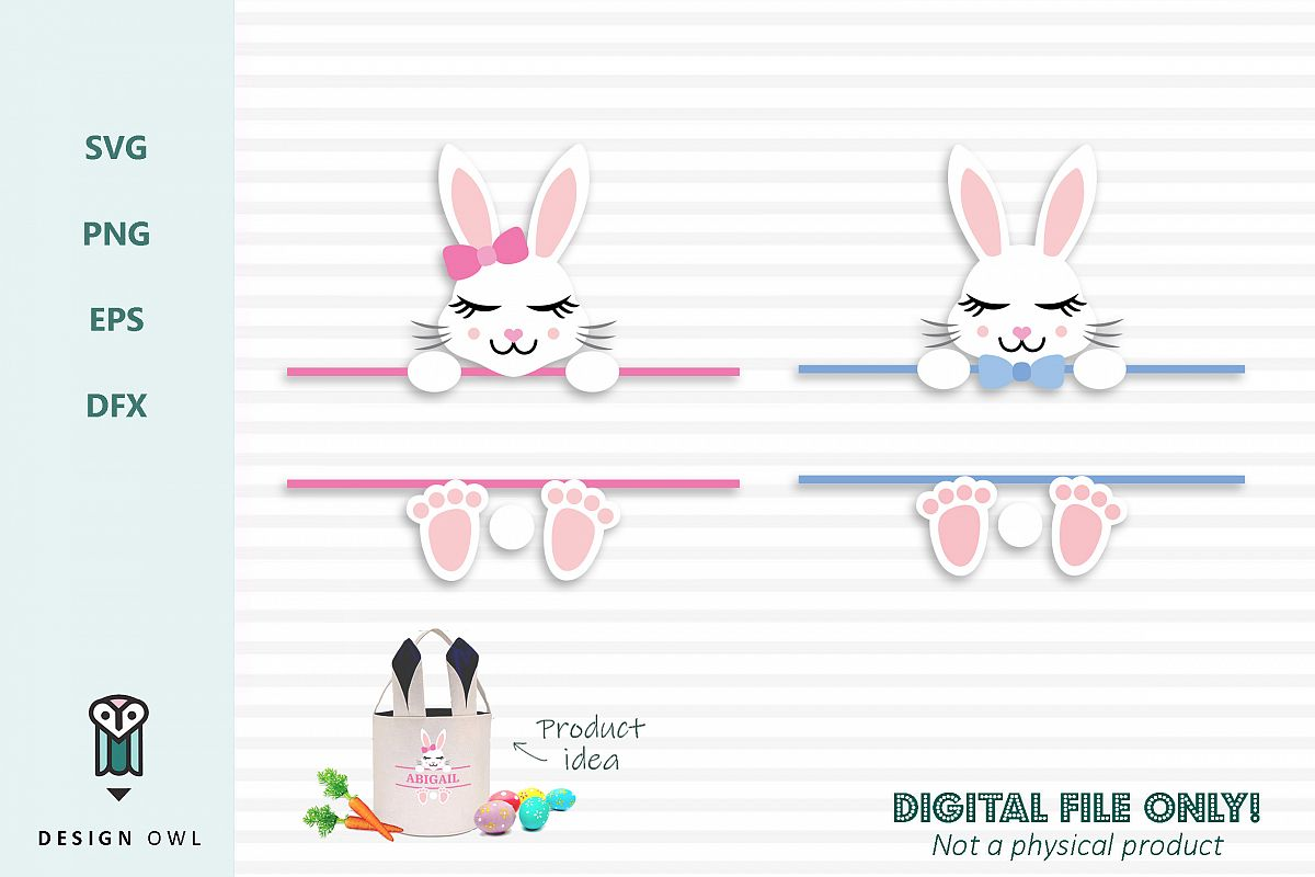 Split bunny frame - Easter SVG cut file example image 1