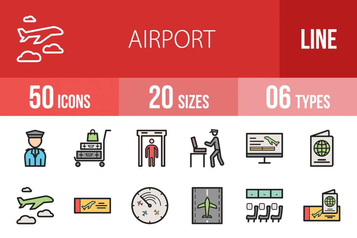 50 Airport Linear Multicolor Icons example image 1