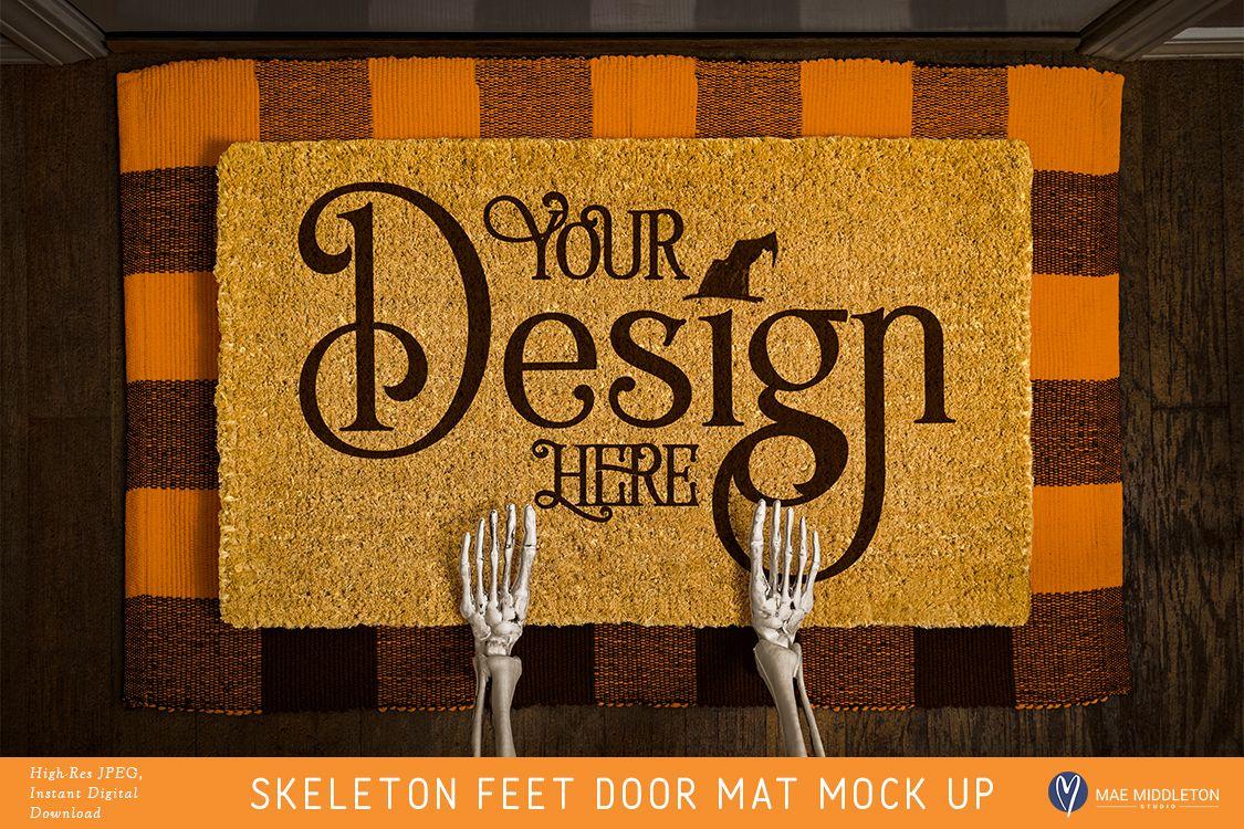 Halloween Door Mat mock up - Skeleton Feet example image 1