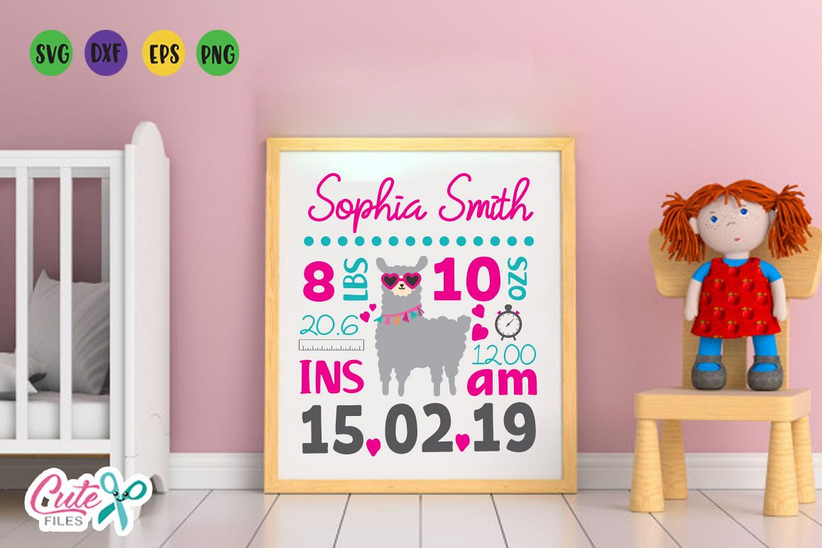 Baby Birth Announcement Template llama svg file example image 1