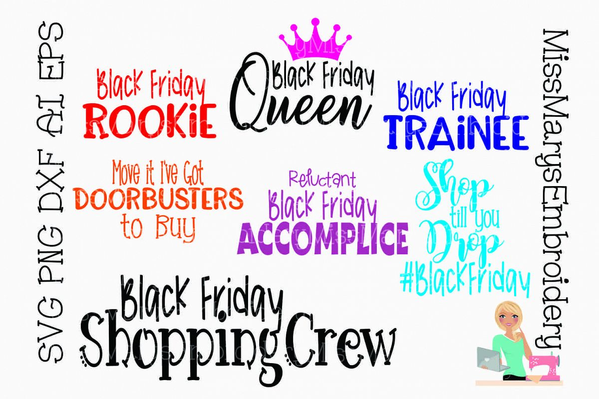 Black Friday Sayings Set SVG Cutting File PNG DXF Ai EPs example image 1